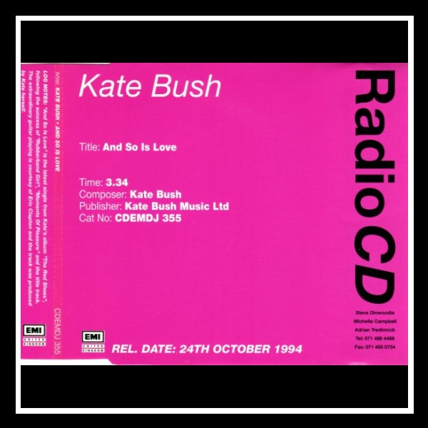 And So Is Love England Promo Maxi CD A
